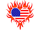 America Heart Flame U S A C L 1 Decal
