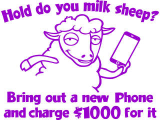 Cell Phone Sheep Decal Proportional