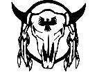 Cow Skull Indian Feather Decal