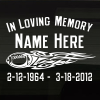 Football Tribal Flame In Loving Memory Decal Image