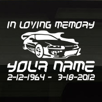 Race Car Sporty In Loving Memory Decal Image