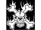 Skull Crossbones Flames Decal