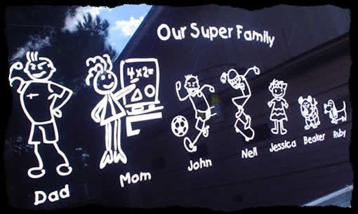 Image of Family Sticker Applied to Van Window Glass