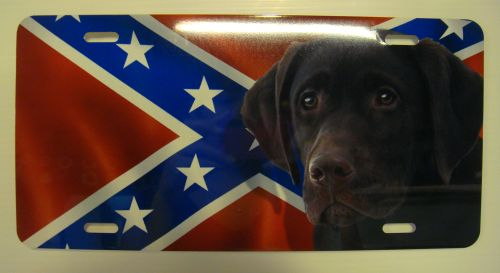 Chocolate Lab Dog On Rebel flag  license plate