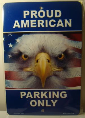 Proud American Parking Only Eagle Flag  license plate