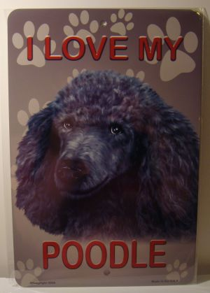 I Love My Silver Poodle Dog license plate