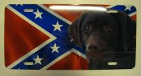 Chocolate Lab Dog On Rebel flag  car plate graphic