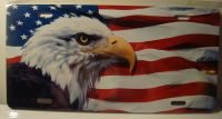 Eagle On American Flag  car plate graphic