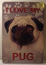 I  Love My Pug Dog car plate graphic