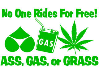 Ass Gas Weed Free Ride Decal Proportional