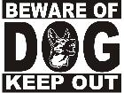 Beware Of Dog Sign Decal