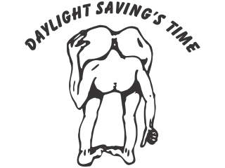 Daylight Savings Time Head Ass Decal Proportional