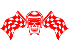 Skull Checker Racing Flags Decal